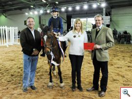 Nick presenting prizes with Graham and Tina Fletcher to the winner of the Search for a 'Talented Showjumper Competition' at Countryside Live 2014